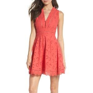 BB Dakota Vianne eyelet fit & flare v neck dress